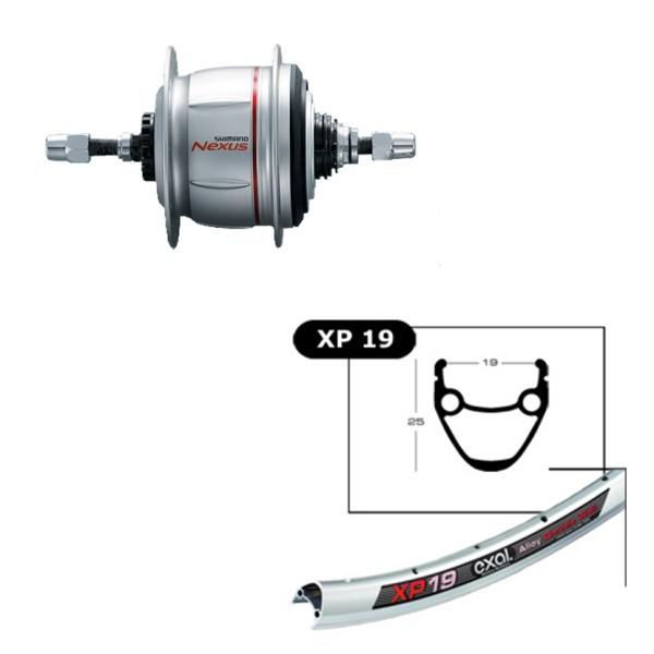 "Hinterrad 26"", Exal XP19, Alu Hohlkammer Felge 559-19,36L, silber, Shimano Nexus 8-Gang Premium - 1"